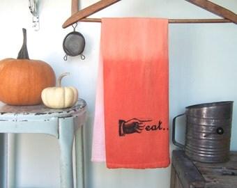 Fall Kitchen - Mod Tangerine - Eat Decor - Hostess Gift - Towel - Flour Sack - Ombre Orange - Kitchen Hand Towel - Boho
