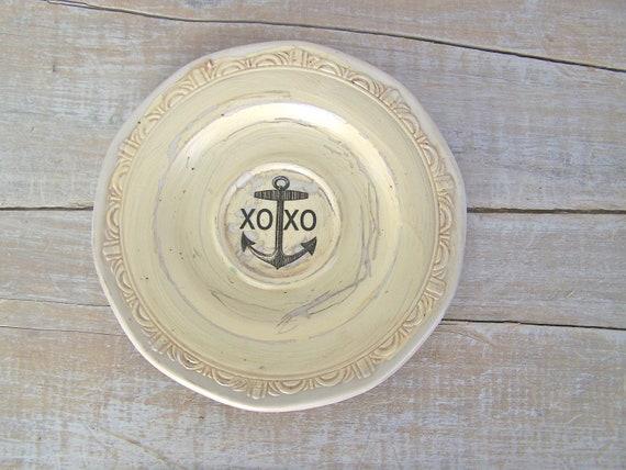 Anchor Sign Beach Cottage Wall Decor Vintage Beach House XOXO Home Decor Cream