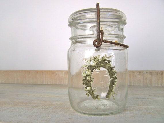 Farmhouse Decor Equestrian Vintage Mason Jar Horse Shoe  w/ Roses Shabby Cottage Chic Home Decor