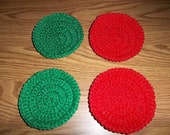 Crocheted Nylon Net Scrubbies Flat Red and Green Stocking Stuffer