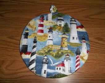 Lighthouse, Quilted Pot Holders, Potholders, Hot Pads, Round Trivet, Kitchen Decor, Double Insulated, Handmade 9 Inches, Hostess Gift