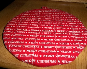 Merry Christmas Quilted Round Hot Pad Quilted Pot Holder Cotton Fabric 9 Inches on Red Background Double Insulated