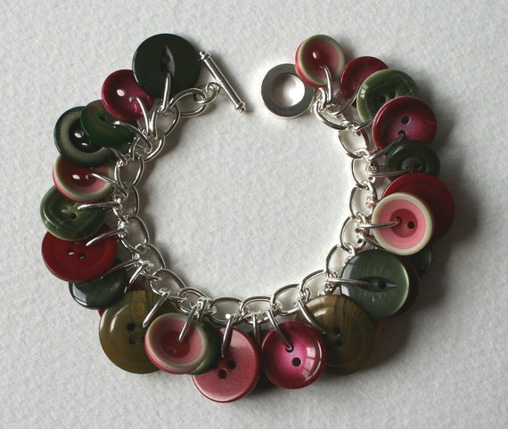 Button Bracelet Watermelon Pink and Muted Moss Green