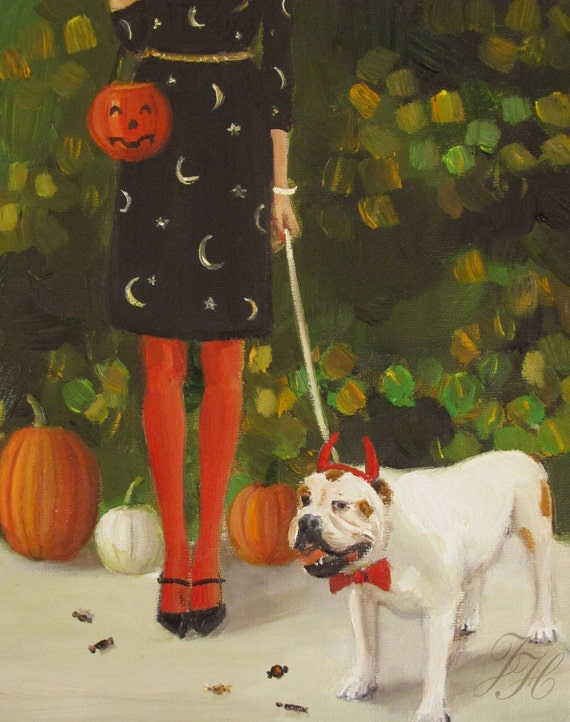 Danielle And The Devil- Figurative Halloween Print From Original Oil Painting