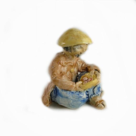 Handmade Asian Man Miniature Hand sculpted Bonsai figurine