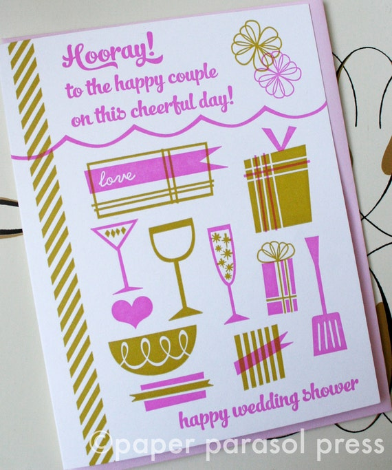 Wedding Shower, Bridal Shower, Letterpress Card