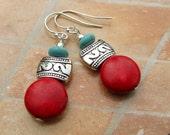 Santa Fe Holiday earrings red earrings turquoise dangle earrings Boho Bohemian jewelry fashion