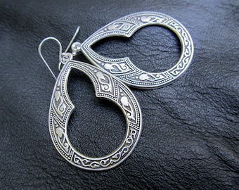 Silver bohemian earrings, Gift for Her under 30 boho jewelry