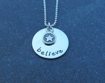 Hand Stamped Jewelry The Believe Necklace With Artisan Crafted Star Charm Sterling Silver Encouragement Ready to ship