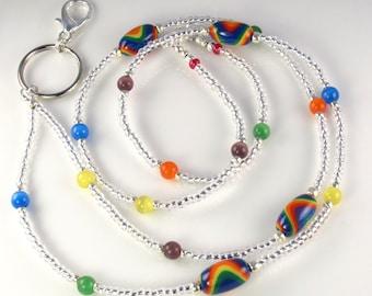 Multicolor Rainbow Beaded Lanyard ETERNAL PROMISE ID Badge Holder