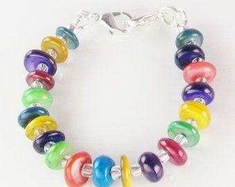 Multi Color Medical Bracelet attachment CARNIVAL for Your ID Tag -  replacement bracelet