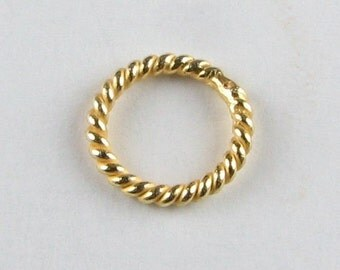 10mm 24k Bali Vermeil Closed Twist Rings Beads, Jewelry Making Findings, Beading Supplies, Closed Jump Rings (10 beads)