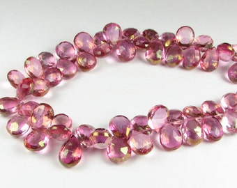 Super Sparkly Mystic Pink Topaz 11mm - 12mm Faceted Pear Flat Teardrop Gemstone Briolettes  (4 beads)