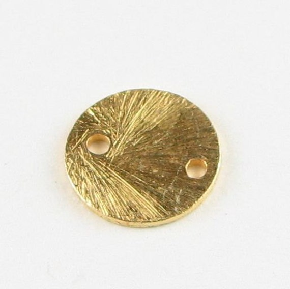 10mm Brushed Gold Bali Vermeil Flat Coin Disc Connector Links Beads (10 pieces)