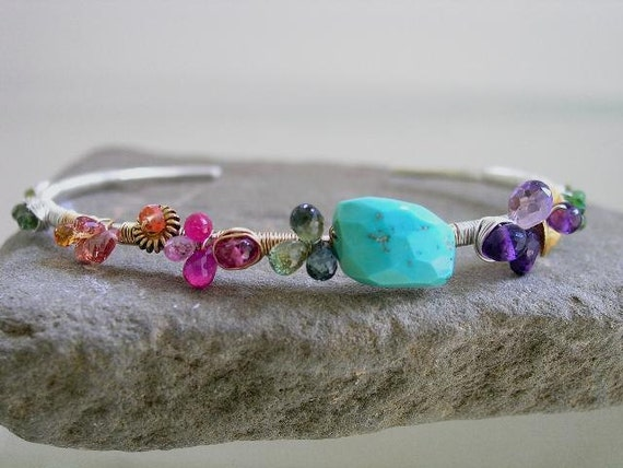 Color Ch'i...Amethyst Ruby Turquoise Sapphire Sterling 14k Gold Filled Signature Original Cuff Bracelet