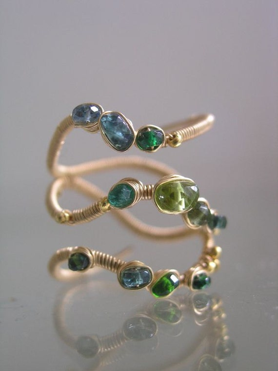Forest Dweller...Emerald Apatite Peridot Dotted Gold filled Signature Original Layered Wrap Ring 8 1/2