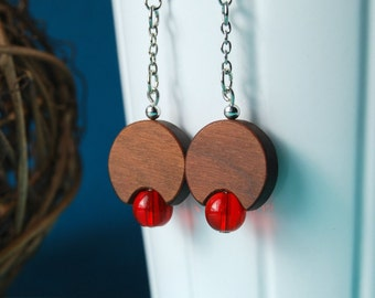 Retro lamp earrings - red -  wood and glass beads earrings