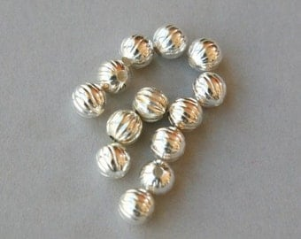 Gold or Silver Plated Round Fluted Metal Bead 6MM Qty 20