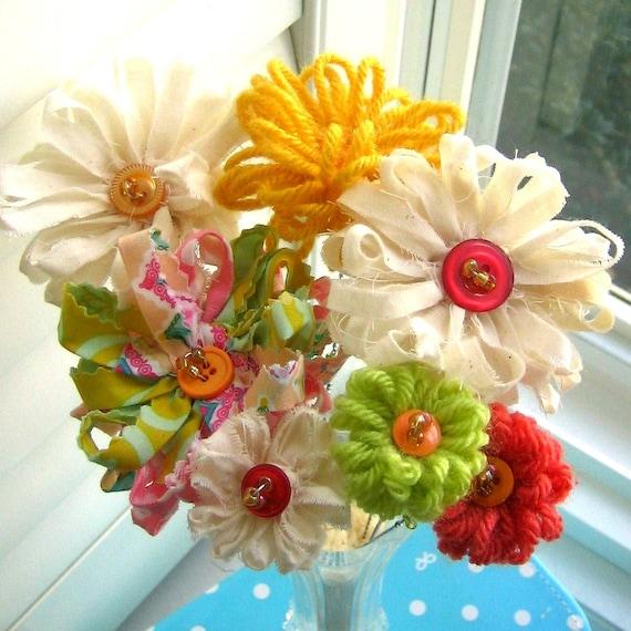 Fabric Bouquet, Fabric  Flowers, Button Flowers, Fall Flower Arrangement,  Bouquet, Fall Flowers, Flower Stem Centerpiece - No. 73