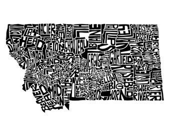 Montana typography map art print 5x7 customizable personalized custom state poster wall decor engagement wedding housewarming gift