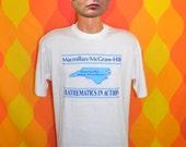 vintage 80s tee shirt MATHEMATICS in action north carolina math textbook t-shirt XL funny mcgraw hill