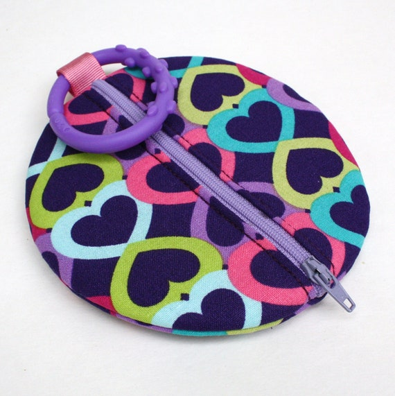 Paci Pod Purple Hearts Binky Pouch Pacifier Case