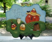 Halloween Handpainted Wood Candy Corn Plaque-Primitive