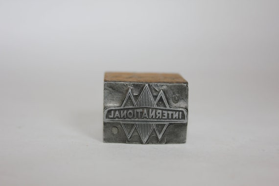 INTERNATIONAL HARVESTER 1938 Blue Diamond Logo - Vintage  Letterpress Printers Block