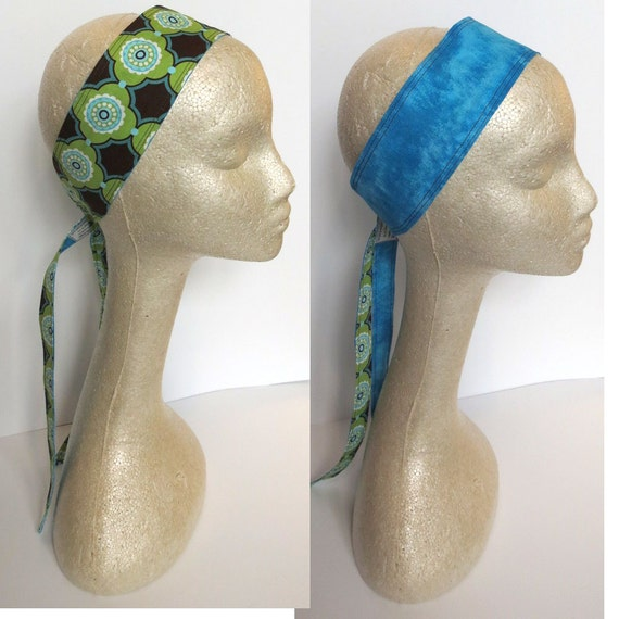 Blue and Brown Mod Reversible Headband