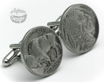 Cufflinks - Indian Head / Buffalo Nickel