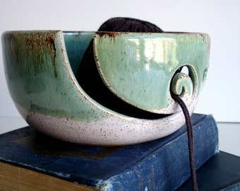 White Green Wheel Thrown Yarn Bowl - MADE TO ORDER