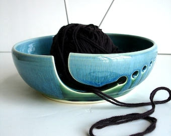 Reserved- Large Forest Green And Blue Yarn Bowl - Made to order