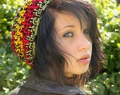 Celebrity slouch hat chunky beret Rasta red yellow green Black