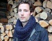 The Light House Keeper cowl Mens nautical winter scarf navy blue