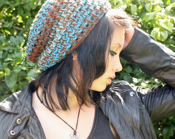Grunge slouch hat chunky beret Rasta WATER turquoise aqua brown teal