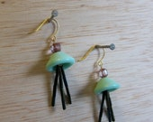 Triple Dangle Beaded Earrings by Tiny Marie Gold Tone