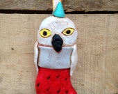Christmas Stocking Snowy Owl in Red white and turquoise folk art clay ornament