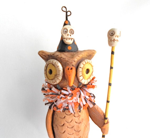 Brown Halloween Owl clay folk art sculpture