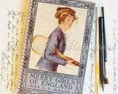 London Olympics - Tennis - Travel - Recycled Vintage Travel Journal - Merry Girls of England - Handmade Vintage Diary, Notebook, Sketchbook