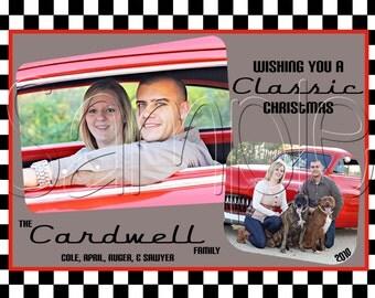 Classic Retro Christmas Holiday Photo Card