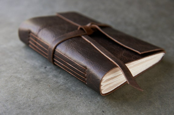 200 page - 5x7 Leather Journal or Sketchbook - Dark Brown