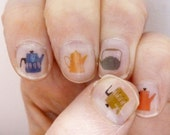 tea pot nail transfers - illustrated nail art stickers