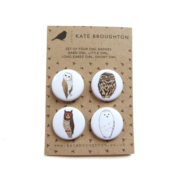 owl pin back button badges set of four by katebroughton on. Black Bedroom Furniture Sets. Home Design Ideas