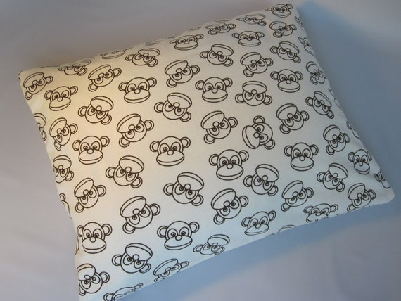 The Perfect Toddler Pillow ... Sock Monkey in brown / Flannel ...Original Design by Sew Cinnamon