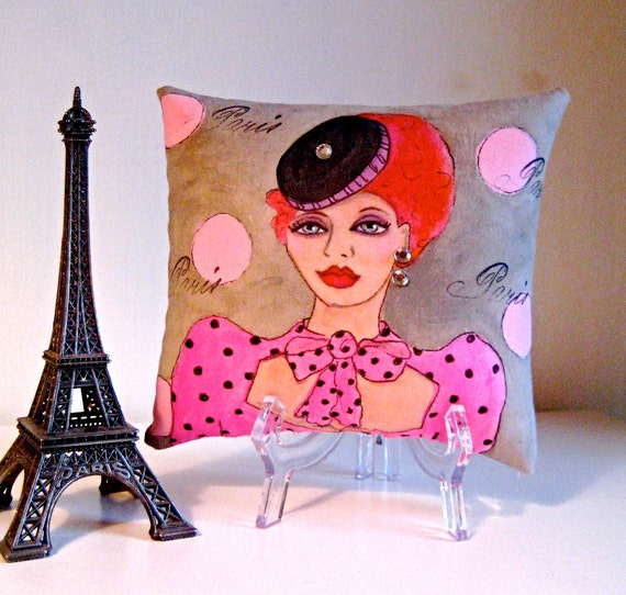 FIFI LA FEMME Hand Painted Pillow/ Funny Quote  (I want my cake and eat it too.) Decorative Art Pillow/ Gift Under 25 Dollars