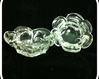 Vintage Blown Glass Dishes Flower Shaped Open Salts or Tea Light Holders - Matching Pair - Clear