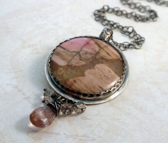 SALE Sterling Silver Statement Necklace Jasper Agate cabochon and Rutilated Quartz beads
