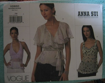 Vogue Anna Sui Misses Top Sz 18-22  V2850    Uncut