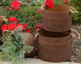 3 Rustic Metal Wedding Flower Buckets-Flower Girl's Bucket- Favor Containers
