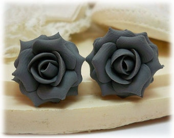 Gray Rose Earrings Stud or Clip On - Gray Rose Jewelry Collection, Gray Flower Earrings